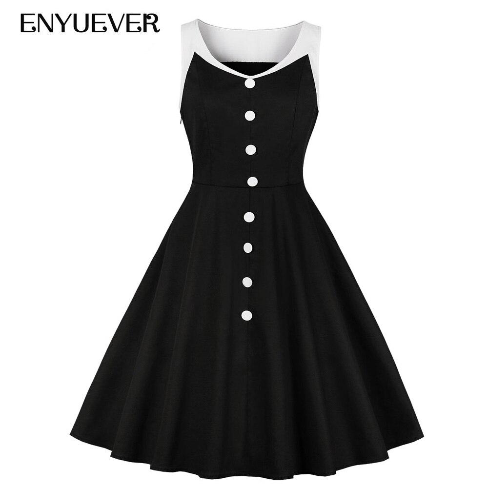 Enyuever/платья больших размеров для женщин, одежда 2019, Повседневные Вечерние платья без рукавов на пуговицах черного и белого цвета, винтажное платье рокабилли