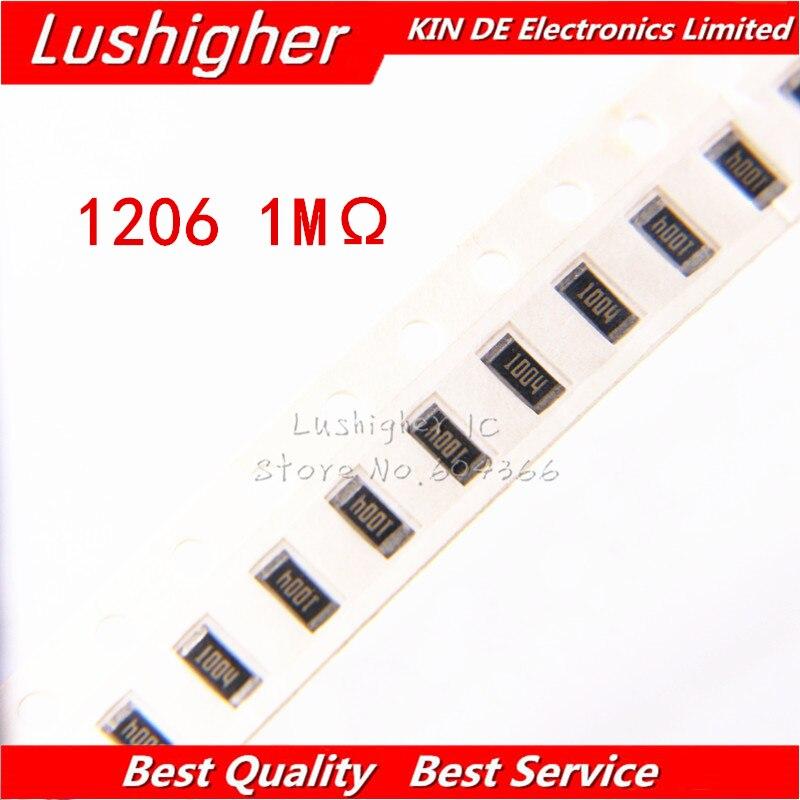100PCS 1206 SMD Resistor 1% 1M Ohm 1004 1.0Kohm