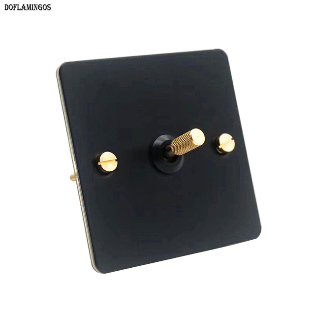 Black loft industrial style light luxury retro copper hand dialing metal panel 86 type lever switch surface mounted brass screw