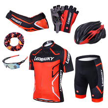 LEOBAIKY Brand Team Pro Cycling Jersey Shorts Set Padded Silicone Bike Clothes Men Summer Riding Cycle Clothing Mtb Bicycle Wear