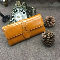 Oil wax cow leather Wallet women Genuine leather Coin Purse Long Purse women with card holder black purple pink blue mustard