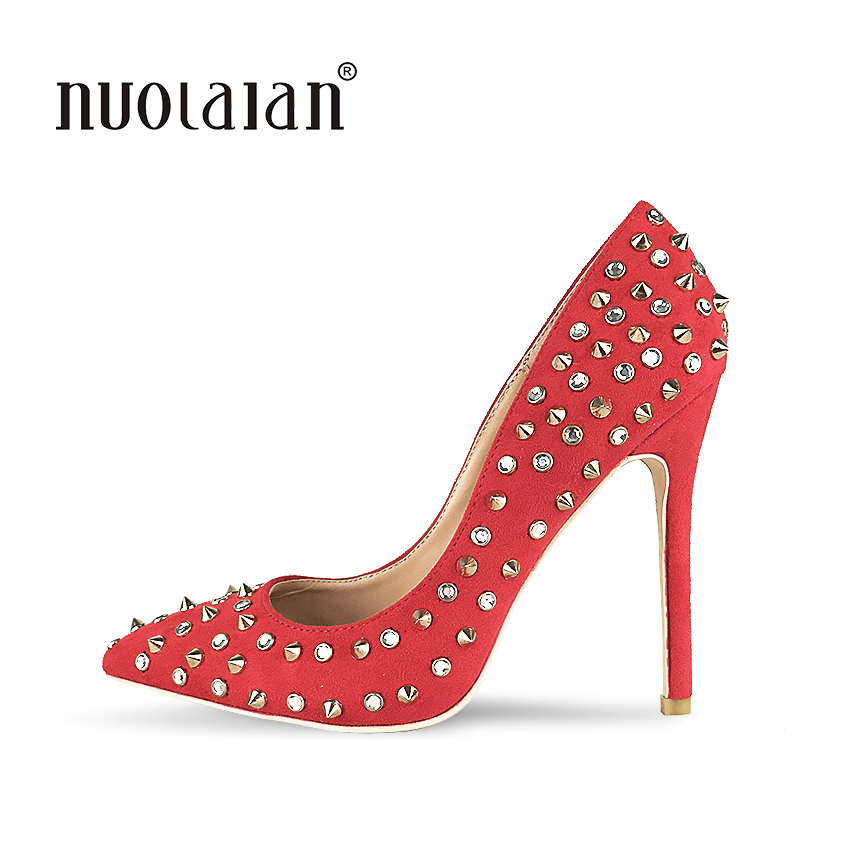 Shoes Woman High Heels Pumps Rivets Womens Shoes Pumps 12CM Red Heels Woman Sexy Pointed Toe High Heels Wedding Shoes size34 39 shoes woman red pumps high heels 9 cm party wedding shoes patent leather pointed toe sexy black nude womens shoes