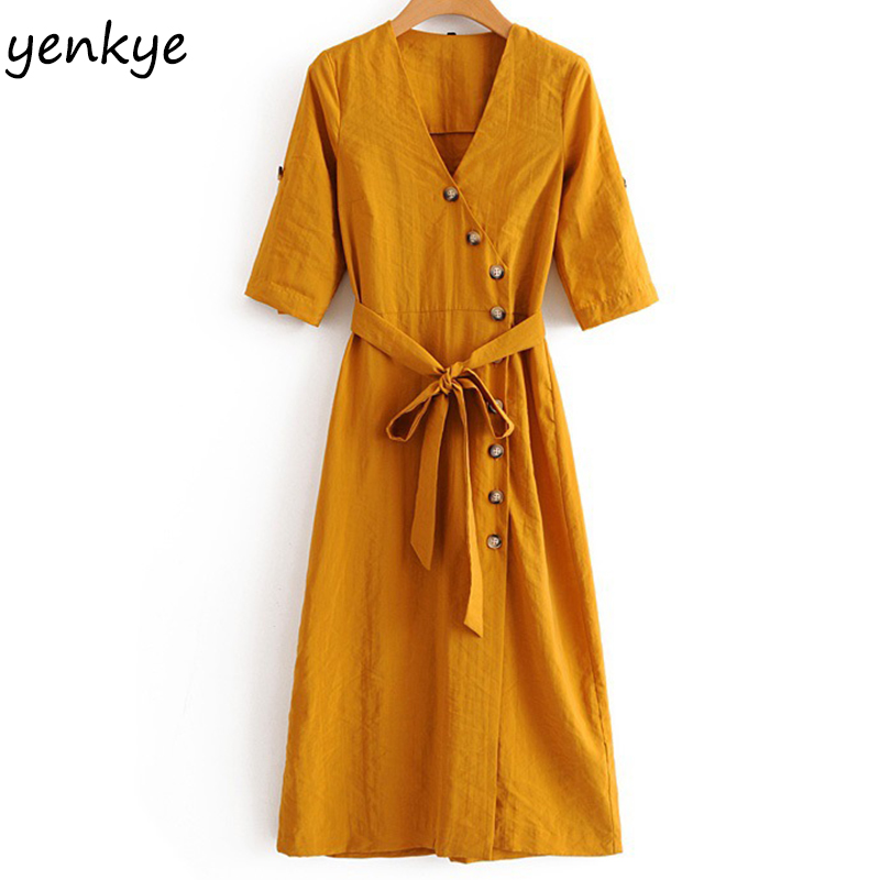 2018 Women Solid Color Button Midi Dress Sexy V Neck Roll-up Sleeve With Belt A-line Casual Dress Summer vestidos