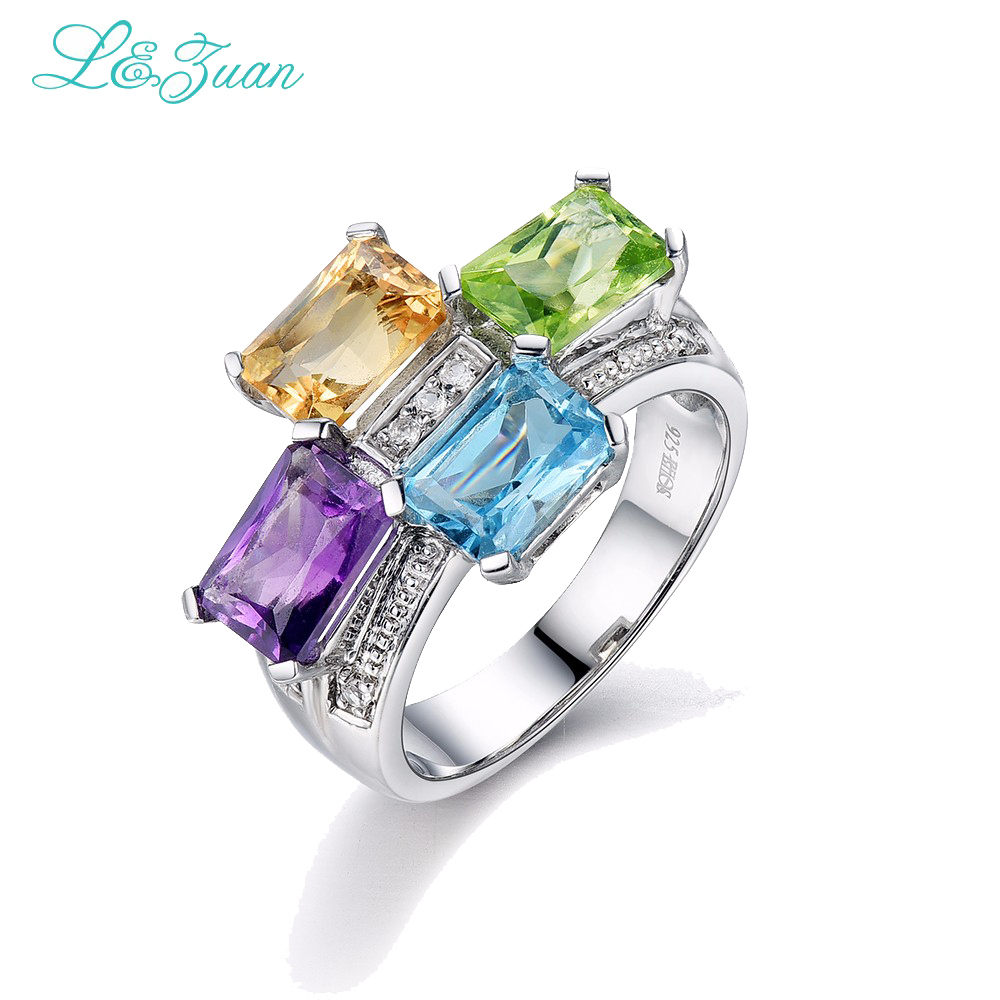 l&zuan S925 Silver Womens Ring Amethyst With Four Square 1.094ct Gemstones Prong Setting Wedding Fine Jewelry Gift blue gemstones decor four pieces jewelry set page 6