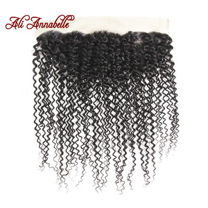 Image 3 - ALI ANNABELLE HAIR Brazilian Human Hair With Closure 3 Bundles Brazilian Kinky Curly Hair with Lace Frontal 100% Remy Hair
