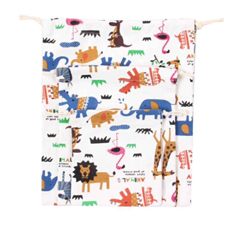 3 pçs/set Bolsa de Lona Sacos de Compras Com Cordão 2019 Animale Impressão Amor Doces Sacos do Presente das Crianças Unisex Bolsa Cluch