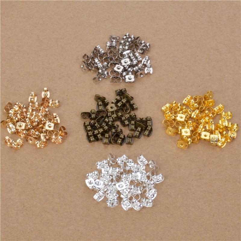 100pcs Surgical Stainless Steel Earnut Butterfly Earring Backs Tone Earring Nuts Stopper For DIY Jewelry Findings