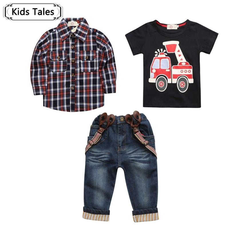 2017 одежда для малышей весенние комплекты для костюм для мальчика с длинными рукавами рубашки в клетку + автомобиля футболка + джинсы 3 шт. костюм комплект для st257 детей