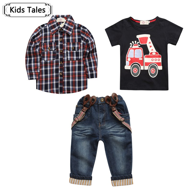 2018 baby clothes sets for spring boy suit with long sleeves plaid shirts + car t-shirt + jeans 3 pcs. Suit children set ST257