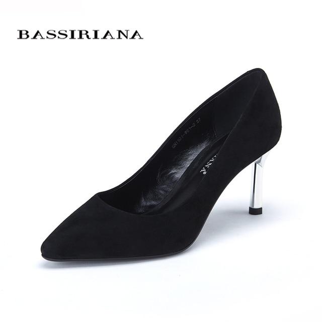 Обувь 2017 Новый высокие каблуки насосы туфли для женщин Базовая модель Офис & Карьера Острым Носом Из Натуральной кожи 35-40 бесплатная доставка BASSIRIANA
