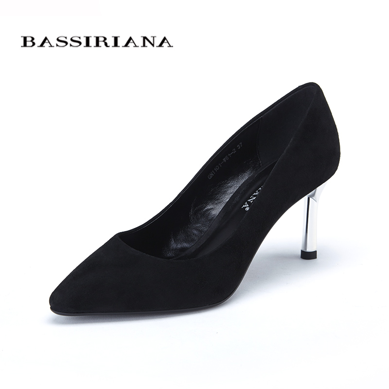 Shoes 2017 New high heels pumps for woman Basic model Office&Career Pointed Toe Genuine leather 35-40 Free shipping BASSIRIANA size 33 43 new 2017 genuine leather womens shoes wedges pointed toe high heels women office & career shoes woman single shoes