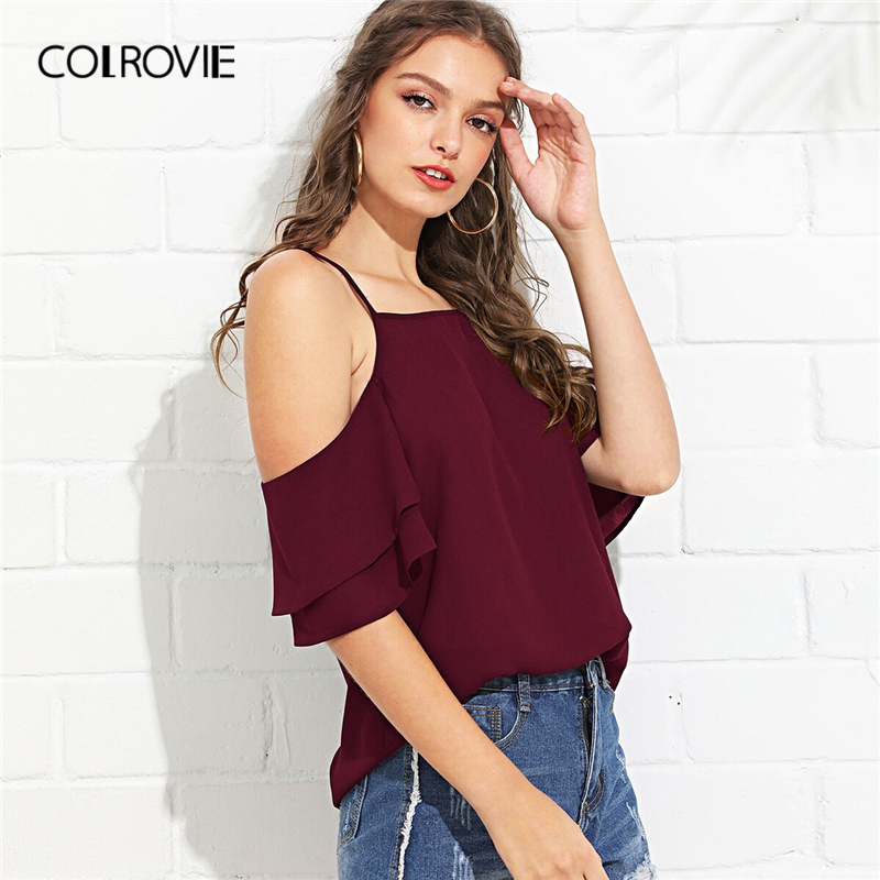 COLROVIE Burgundy Spaghetti Strap Cold Shoulder Layered Ruffle Casual   Blouse     Shirt   Women 2019 Summer Ginger Office Ladies Tops