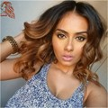 Body Wave Lace Front Human Hair Wigs With Baby Hair 1B/30 Ombre Color Bob Wig 8A Virgin Brazilian Hair U Part Human Hair Wigs