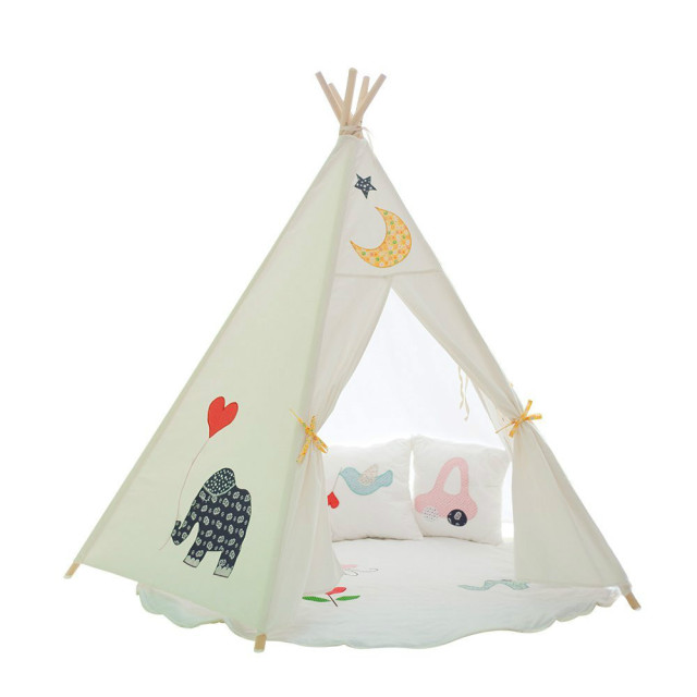 Lovely cartoon kid play tent embroidering cotton canvas kids teepee white playhouse fabric children bed tent  sc 1 st  AliExpress.com & Lovely cartoon kid play tent embroidering cotton canvas kids ...
