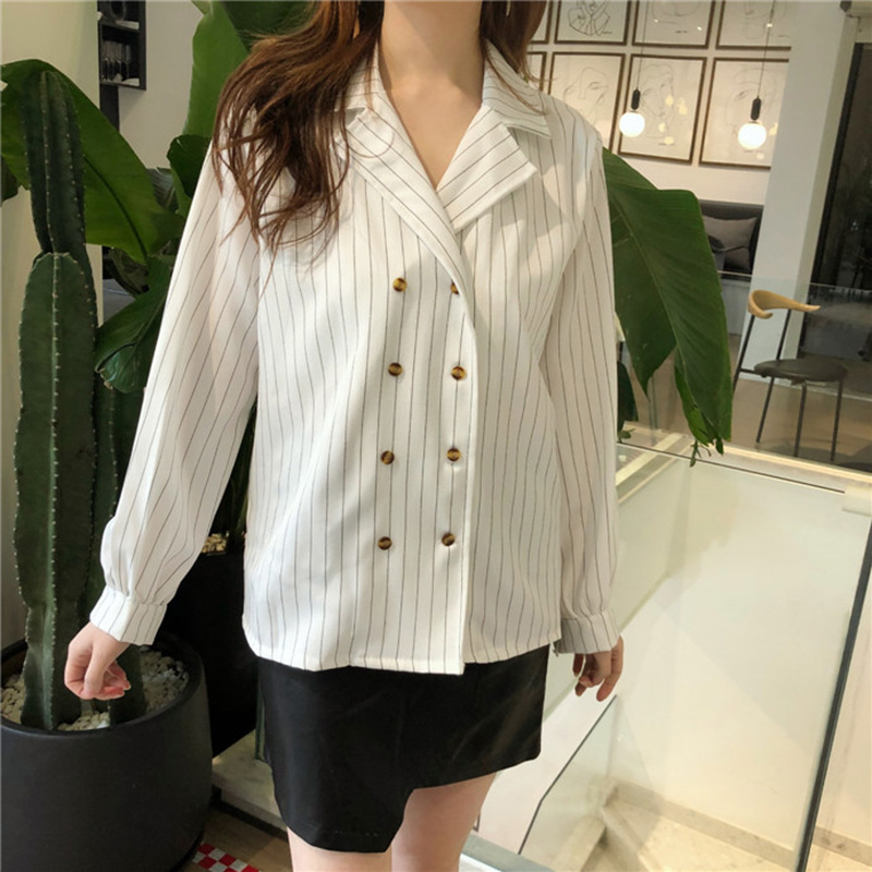 Shirts Women Simple Retro Striped All-match Double-breasted Korean Style Students Notched Womens Elegant Blouses Loose Chic 2019 6