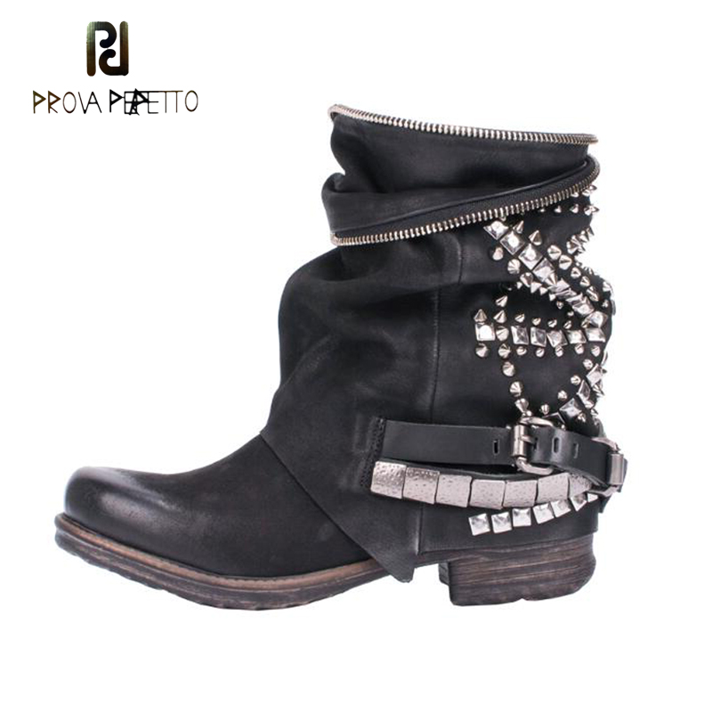 Prova Perfetto Do Old Style Rivet Zipper Women's Short Boots Round Toe Thick Bottomed Flat Boots Fashion Women Motorcycle Boots