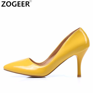 Image 1 - Fashion High Heels Shoes Woman Pointed Toe Classic Shallow Womens pumps White Red Pink Heels Wedding Office Shoes Large Size 48