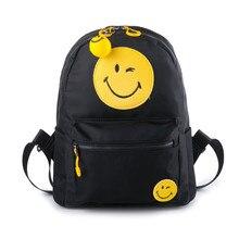 Новые школьные сумки для Подростка Девочек Женщин Рюкзак Случайные женский Молния Сумки на ремне с simle лицо путешествия рюкзак mochilas