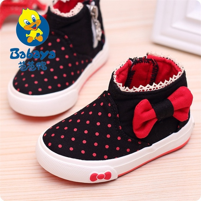 Brand casual Spring fashion new polka-dots bowtie high top side zipper baby canvas shoes girls first walkers infantile sneakers