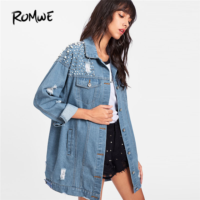 f494a28afe05d ROMWE Pearl Beaded Detail Ripped Denim Jacket New Spring Single Breasted  Women Top Collar Casual Plain Jacket