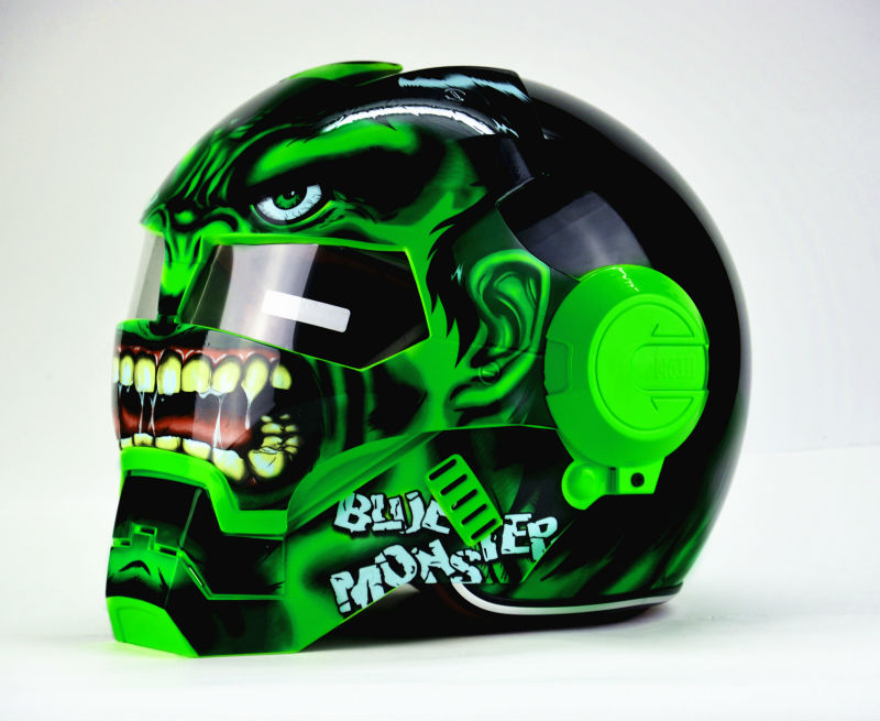 Envío gratis Top ABS Moto biker Casco MASEI Iron Man personalidad especial moda medio abierto cara motocross casco verde