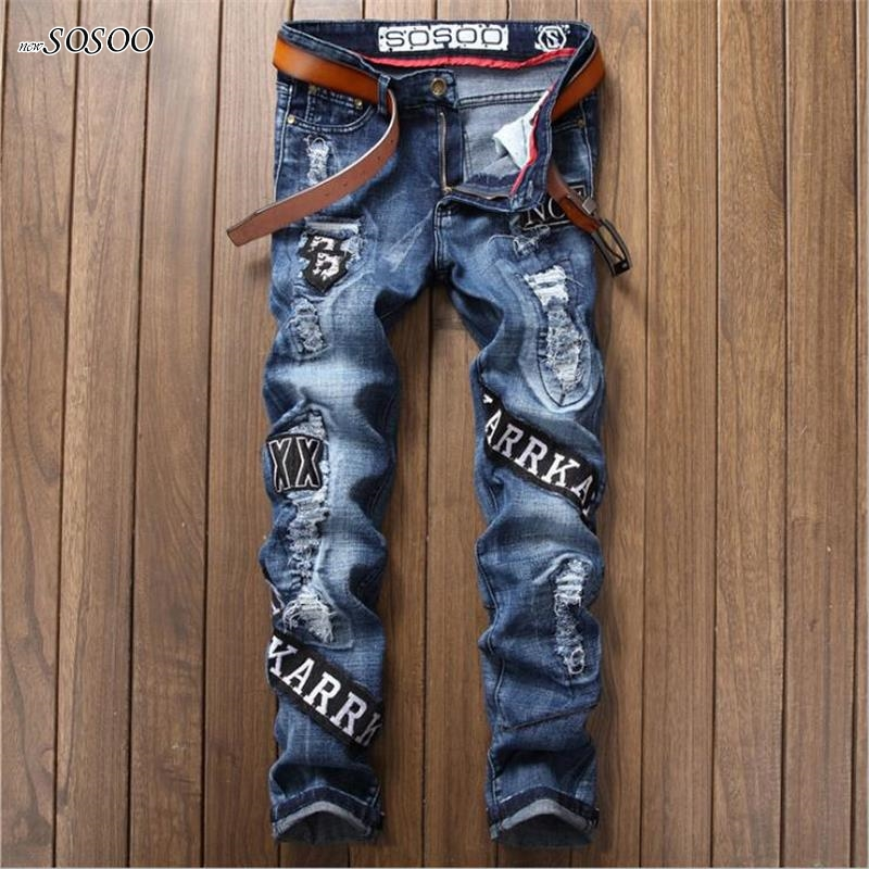 men brand jeans letter printed knees ripped jeans men fashion leisure stretch straight jeans slim fit size 29-38 #17002 famous dsel brand fashion designer jeans men straight blue color printed mens jeans ripped jeans 100