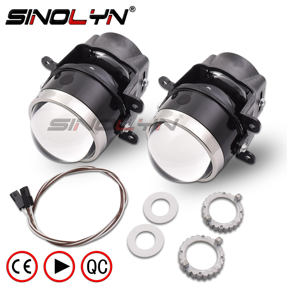 SINOLYN 3 0 inch Bixenon Projector Fog Light Lens Driving Lamp HID Bulb D2H Waterproof For