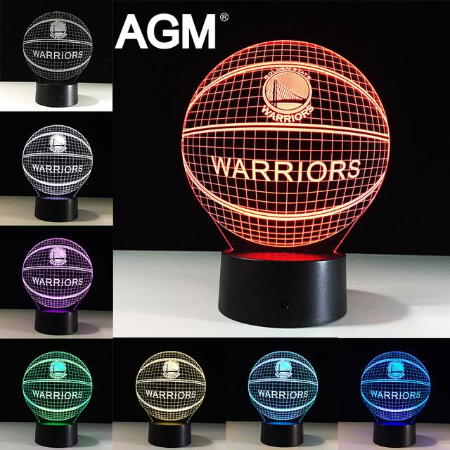 Golden State Warriors NBA Logo Acrílico LED USB 3D Táctil Noche luz de 7 Colores Cambiantes de Dormir Lampe Luz Lámpara de Escritorio lámparas de Mesa