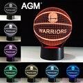 NBA Logo Golden State Warriors Acrílico LED USB 3D Toque Noite luz Mudança de 7 Cores Dormir Lampe candeeiros de Mesa de Luz Da Lâmpada de Mesa