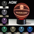 NBA Logo Golden State Warriors Acrylic LED USB 3D Touch Night Light 7 Colors Changing Sleeping Lampe Light Desk Lamp Table lamps