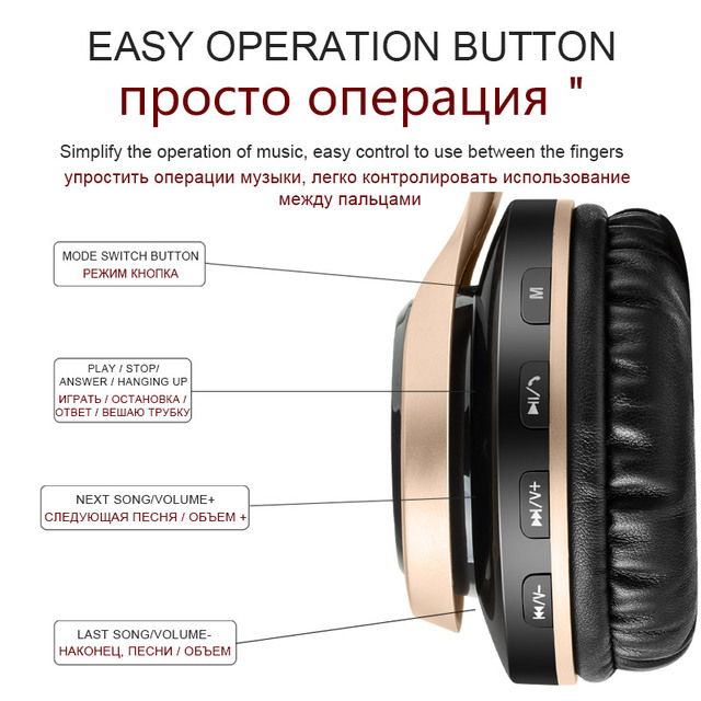 Headphones Bass Headset For Cellphone Sound Intone Bluetooth Headphone With Mic Support TF Card FM Radio Wireless