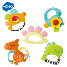 5pcs/Lot Safe Cartoon Baby Rattle Toys Free Cute Animal Dinosaur Infant DIY Ring Toddler Silicone