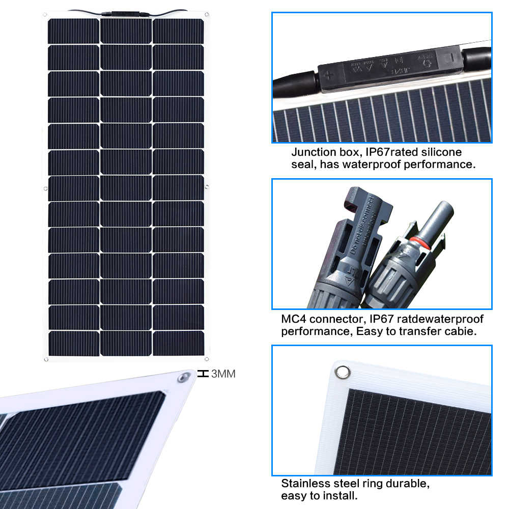 XINPUGUANG 19.5v 100w Solar Panel with 0.9M Mc4 wire connector flexible solar panels placa solar painel solar Charge china