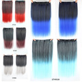 60cm 110g Heat Resistant Fiber 4/5 Clips Synthetic Hair Extensions Long Straight Mix-color Hair Women Gradient Hair Extension