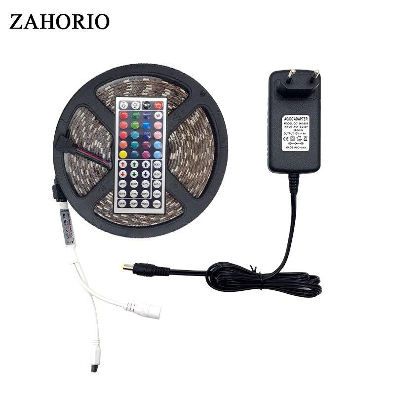 5M Or 10M 5050 SMD RGB LED Strip light String Ribbon christmas Decor lamp Tape + 44Keys Remote Controller + Power Adapter Kit