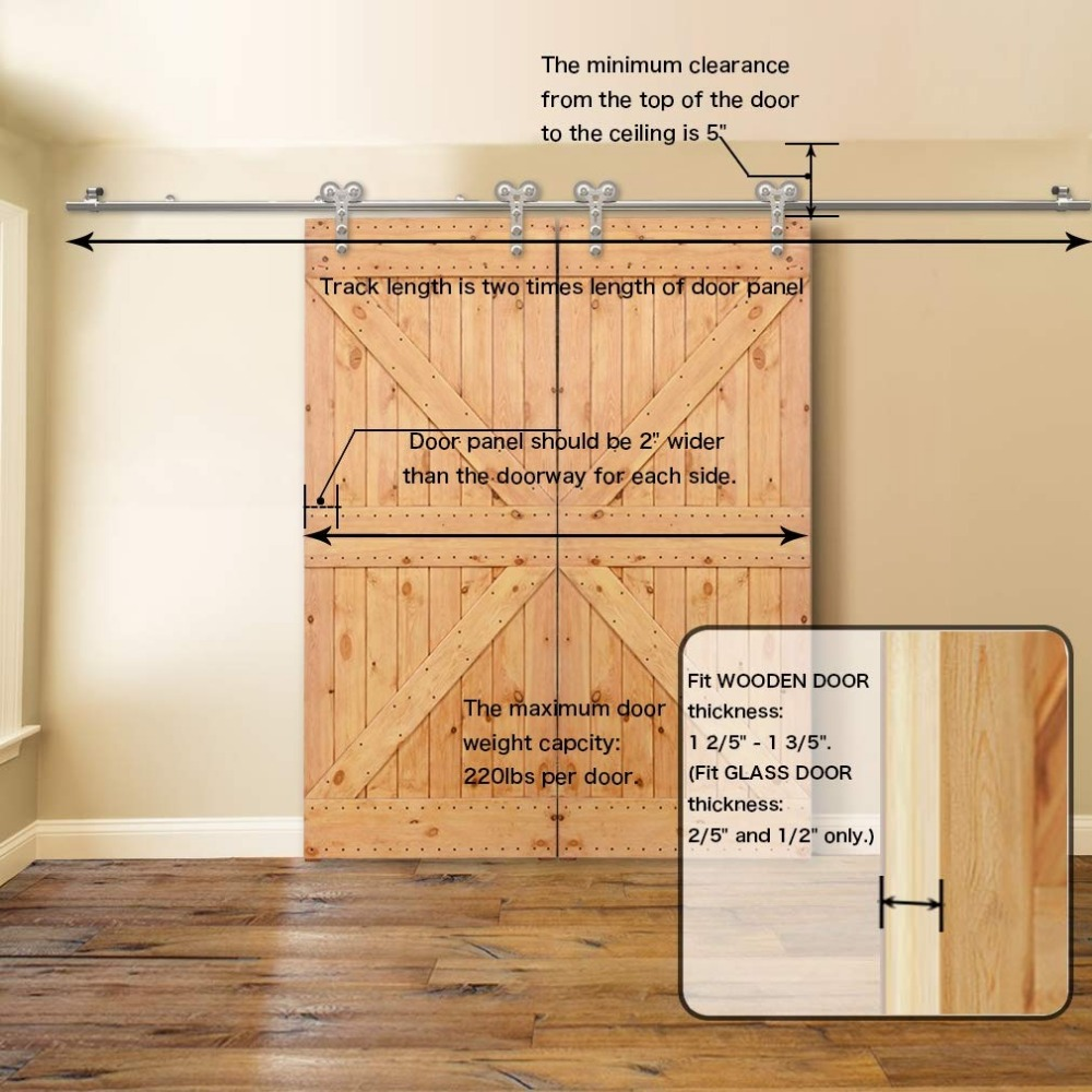 LWZH 4-9.6FT Y-Shaped Silver Modern Stainless Steel Puerta Corredera Wooden and Glass Sliding Door Hardware Kit for Double Door