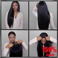 150% 8A Densidade Cheia do laço perucas de cabelo humano para as mulheres negras Glueless perucas cheias do laço Brasileiro virgem perucas cabelo rendas frente em linha reta
