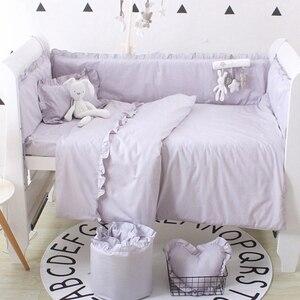 Image 2 - (5 stuks EEN Set) custom Size Baby Beddengoed Set Bed Bumper 4 stuks + 1 pc Wieg Bed Hoeslaken Voor 120x60 cm Baby Bed