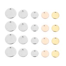 Stainless Steel Round Blank Tag Silver Gold Rose Gold Dog Charm Pendants Jewelry making Tag Metal Blanks Jewelry Stamping(China)