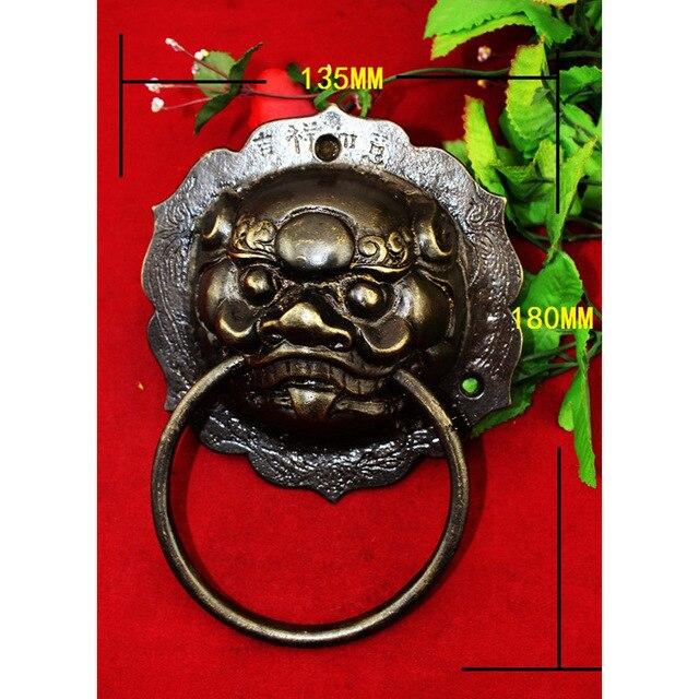 135*180mm, 1 pièces laiton chinois Vintage Animal bête tête meubles porte poignée de traction
