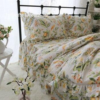 Pastoral king size bedding set full print princess bedding Garden ruffle duvet cover elegant bed sheet available custom sale