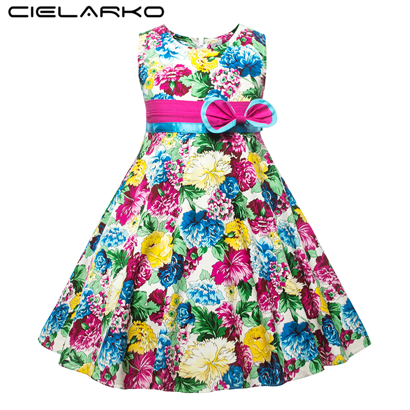 Cielarko Jenter Kjole Sommer Barn Blomster Kjoler Sleeveless Barn Strand Sundress Cotton Baby Holiday Party Klær til Jente