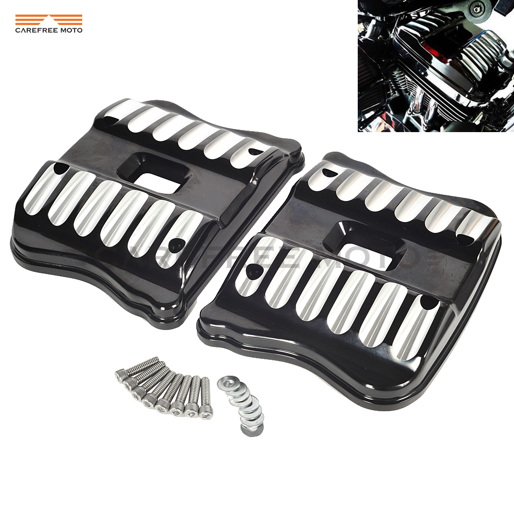 Edge Cut Black Motorcycle Rocker Box Covers Case for Harley Sportster Seventy Two Custom XL 1200 883 2004-2017 mtsooning timing cover and 1 derby cover for harley davidson xlh 883 sportster 1986 2004 xl 883 sportster custom 1998 2008 883l
