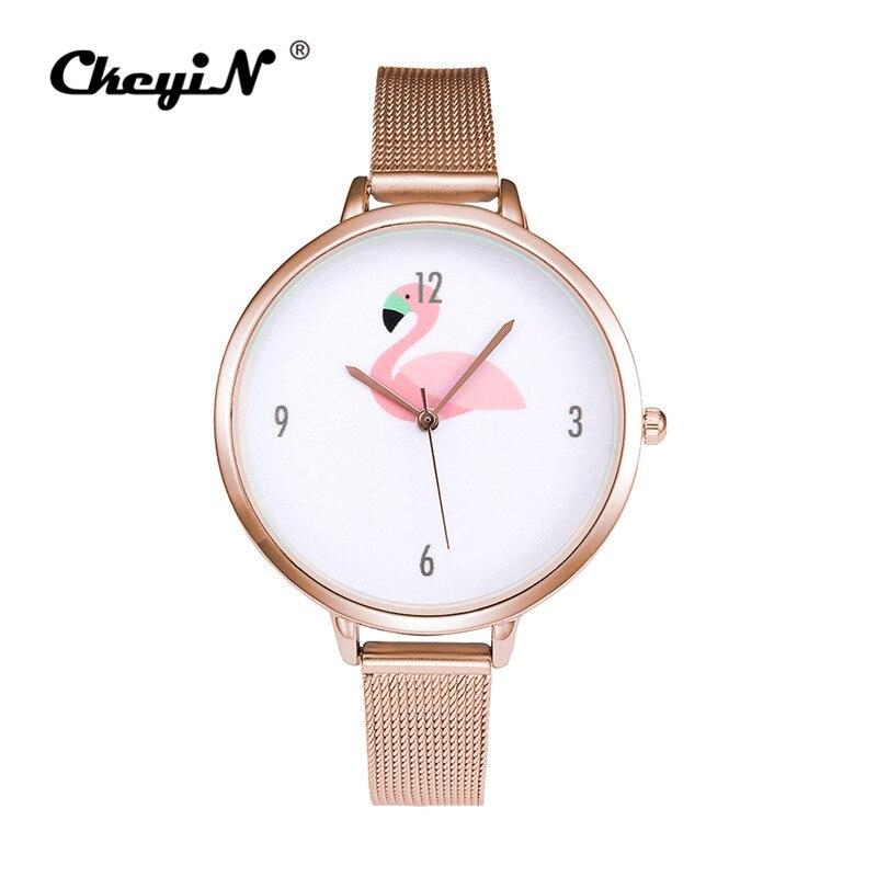 CkeyiN Fashion Women's Watch Flamingo Pattern Wrist Watch relogio feminino Stainless Steel Mesh Watchband Quartz Watches 45