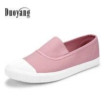 Мода 2017 г. Женская полотняная обувь низкая дышащая женская однотонная обувь на плоской подошве повседневная обувь