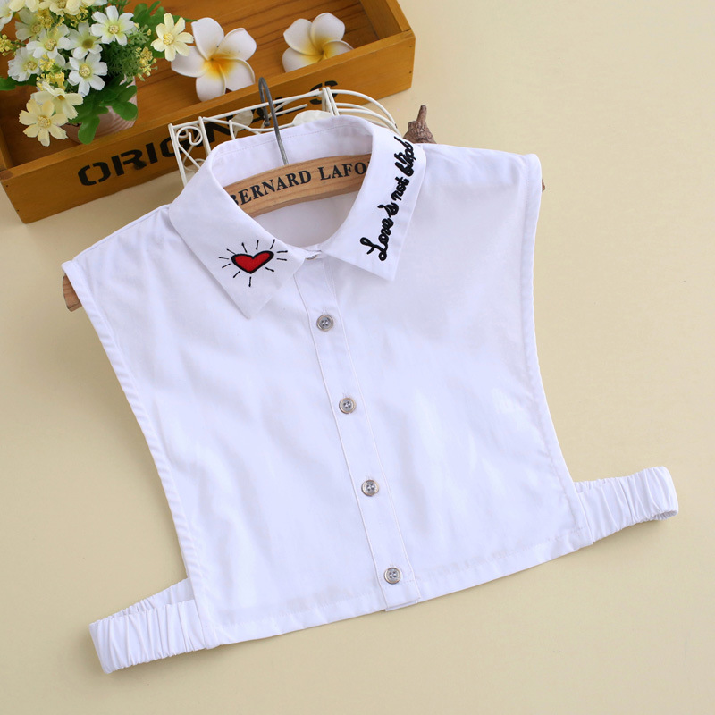 YSMILE Y Women Fashion Letter Love Embroidery Fake Collar High Quality Novelty Shirt Remove Detachable Collar For Female Lady