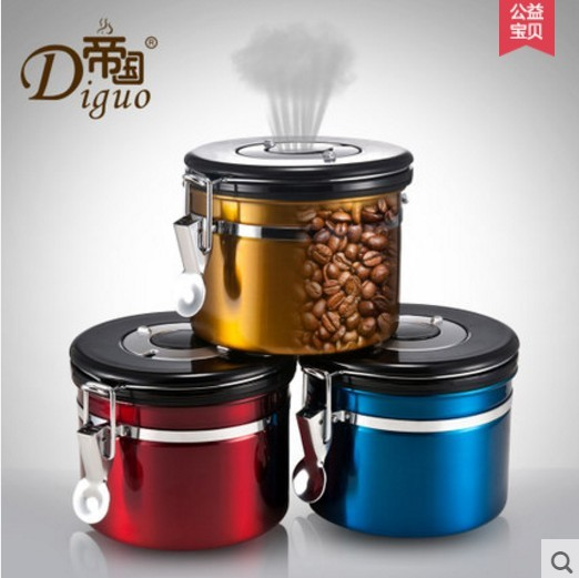 Diguo Coffee Storage Canister Premium Quality Stainless Steel Bean Container For Better Tasting Vacuum Seal Vents Away In Makers From Home