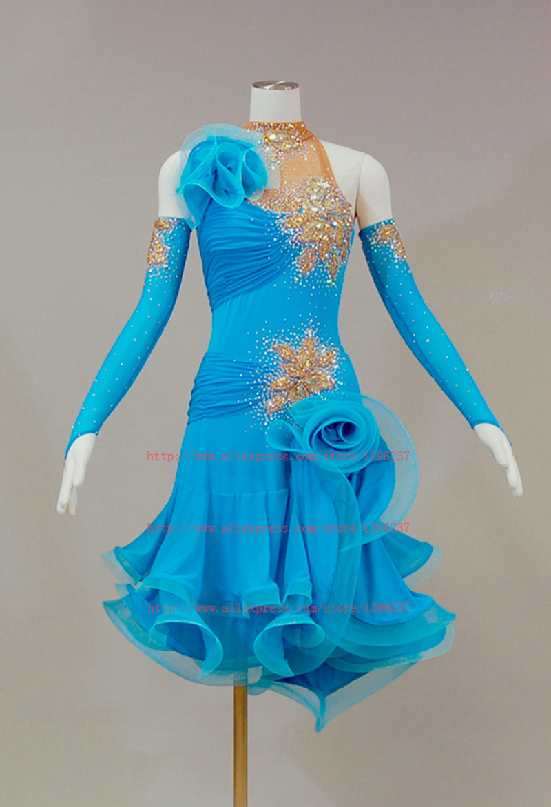 Latin Dress Women New Design Sky Blue Rumba Samba Stage Performance Dancing Costume Latin Competition Dance