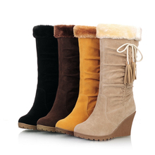New fashion women's shoes sexy round toe Wedges bowknot tassel snow boots woman warm winter boots 4 colors