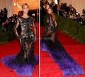 Cristais apliques de renda Beyonce luxo tapete vermelho vestidos com mangas